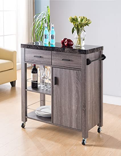 Smart Home Faux Marble Kitchen Serving Cart Natural Wood (Distressed Grey)