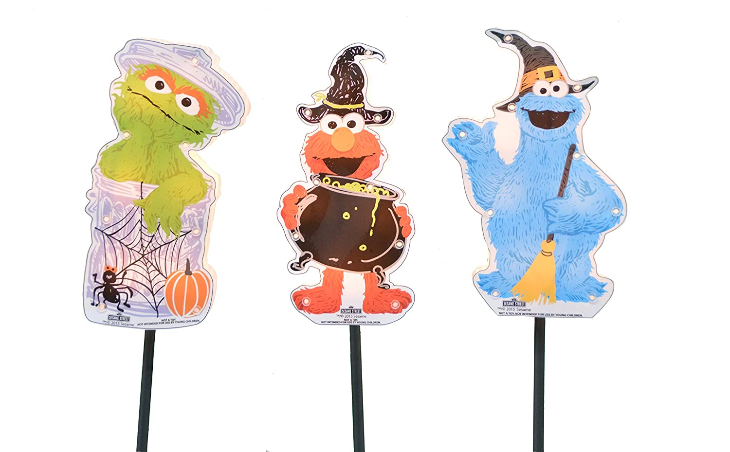 ProductWorks 8-Inch Pre-Lit Sesame Street Halloween Pathway Markers (Set of 3) 70116