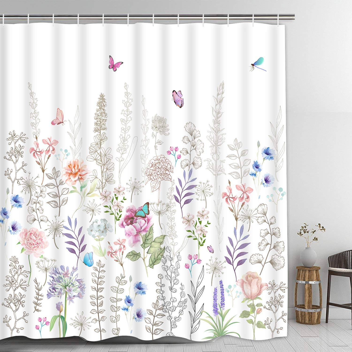 Pknoclan Colorful Floral Shower Curtain, White Boho Flowers Shower Curtain with 12 Hooks, Rustic Country Shower Curtain with Butterflies Plants, Waterproof Fabric Natural Bathroom Curtain