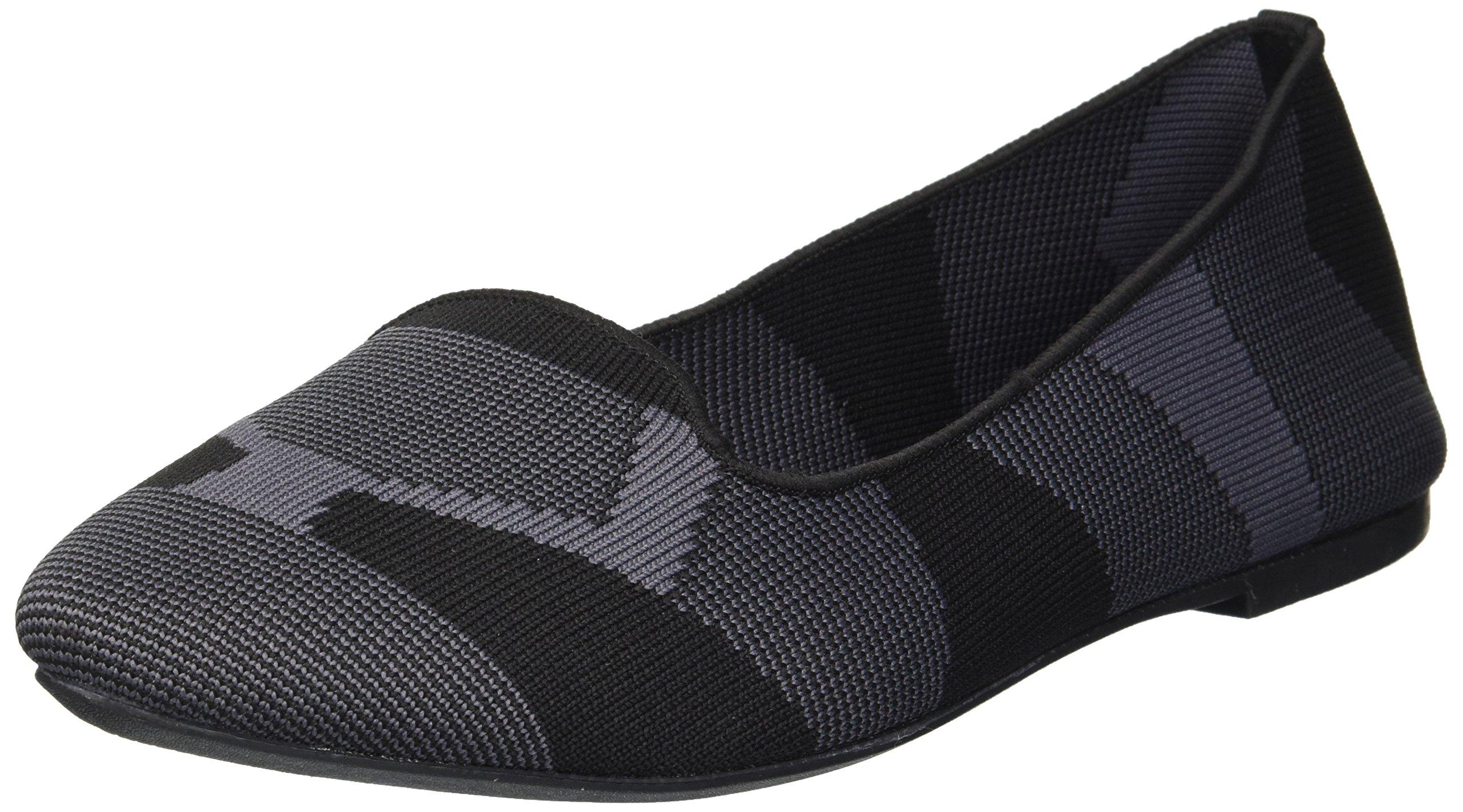Skechers Women's Cleo-Sherlock-Engineered Knit Loafer Skimmer Ballet Flat, Black, 8.5 M US by Skechers