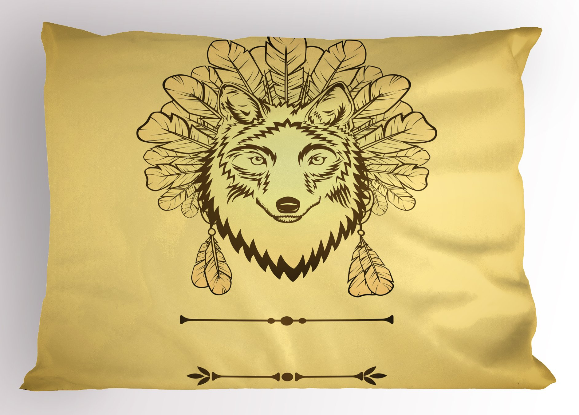 Lunarable Wolf Pillow Sham, Artistic Wolf Portrait with Feathers Totem Animal Ethnicity Spirituality, Decorative Standard King Size Printed Pillowcase, 36 X 20 inches, Yellow and Green Brown