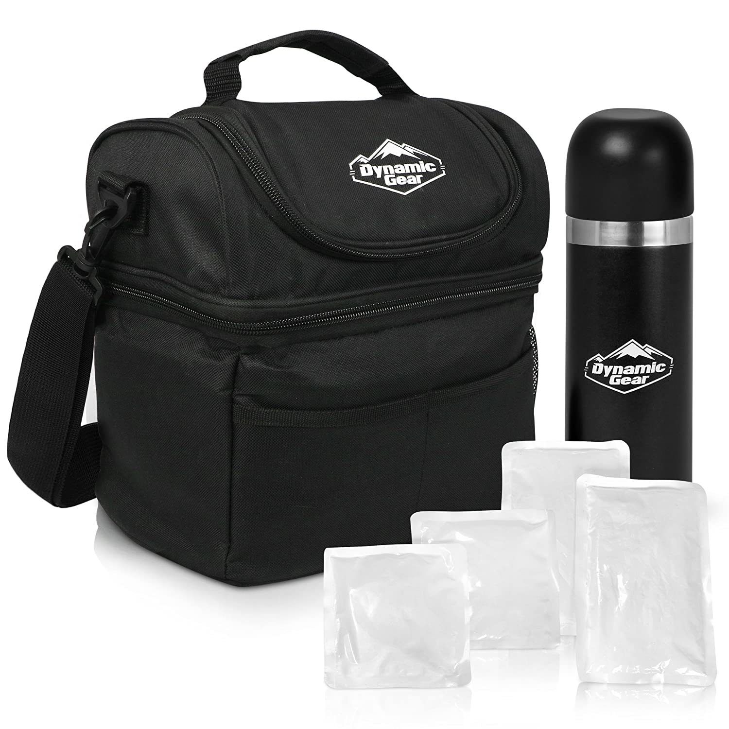 Dynamic Gear Refrigerated Lunch Box Tote Bag, Large, Adults/Men/Women, Insulated, Mesh Pockets, For Travel/Work/Picnic/Camping, With 16oz Thermos and 4 Cooler Pouches!
