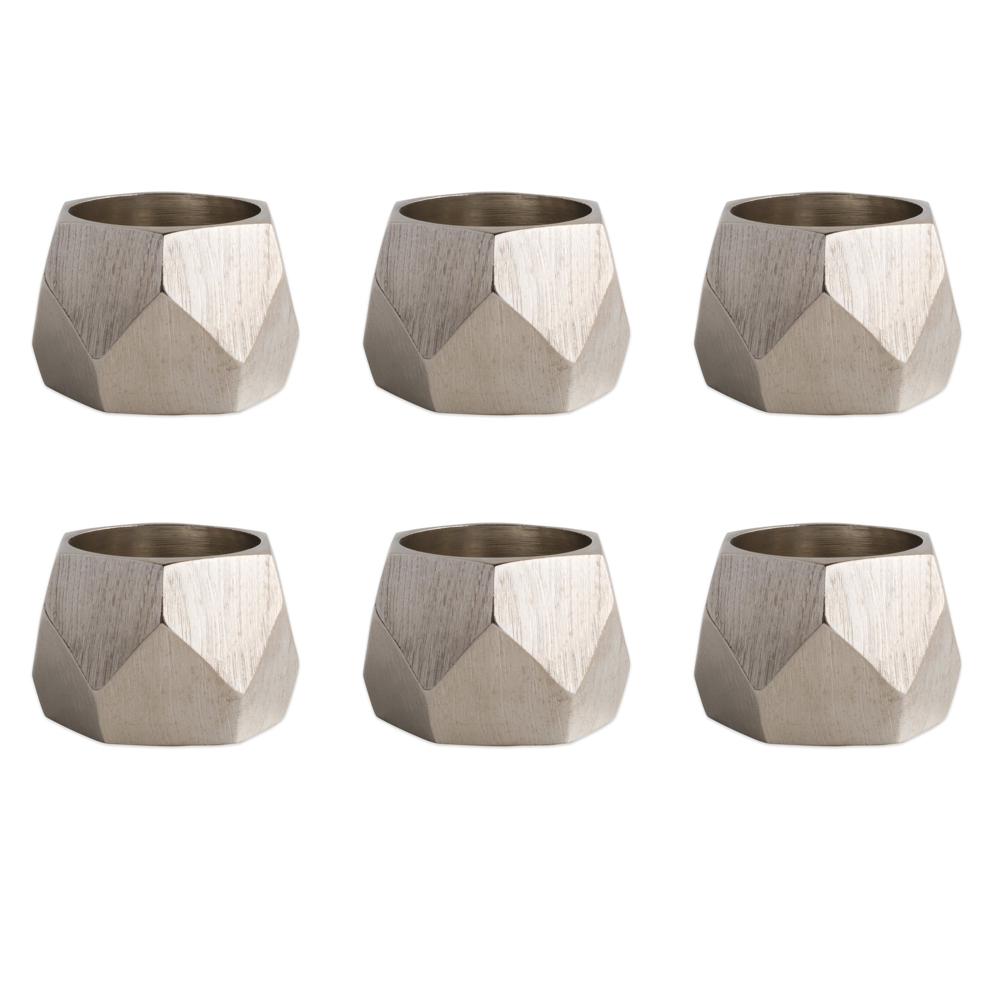DII Contemporary Chic Napkin Rings for Dinner Parties, Weddings Receptions, Family Gatherings, or Everyday Use, Set Your Table With Style - Silver Geometric Triangle Band, Set of 6