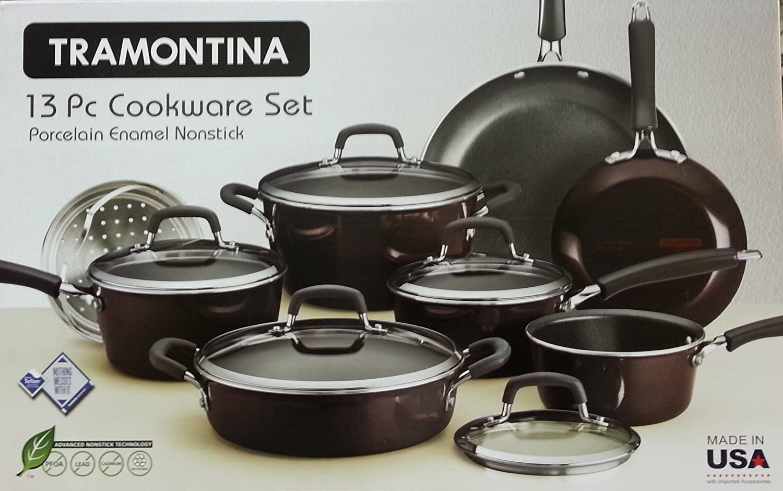 Amazon.com: Tramontina 13 PC Porcelain Enamel Nonstick Cookware ...