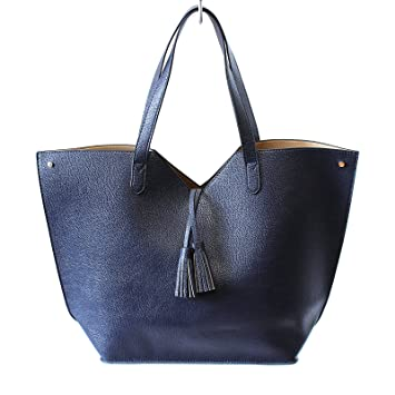 e84ef8d009ee Image Unavailable. Image not available for. Color  Neiman Marcus Navy Blue  Faux Leather Tote Large Shoulder Bag ...