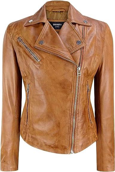 Infinity Ladies Brown Casual Retro Brando Soft Nappa Leather Biker Jacket