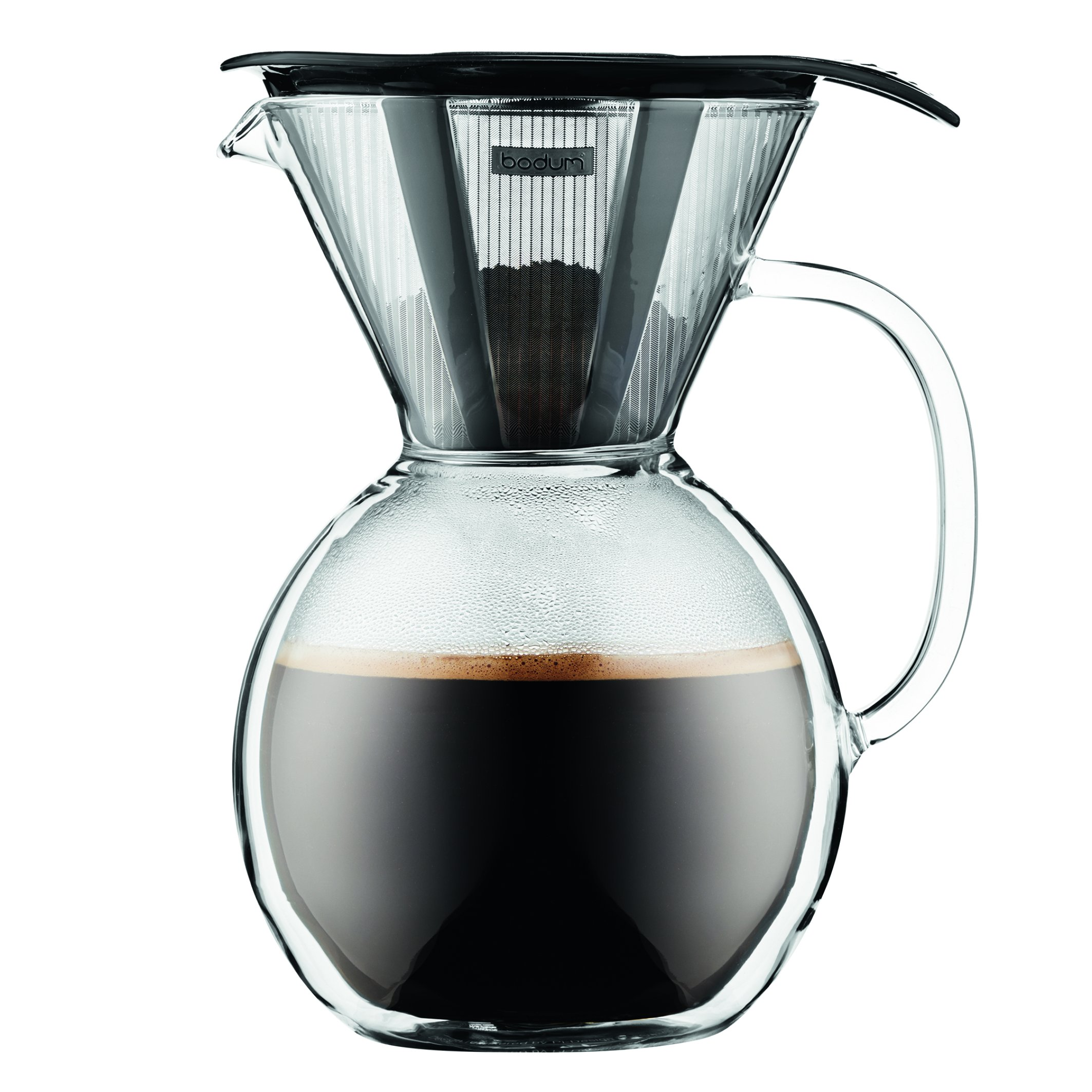 Bodum 11672-01 8 Cup Double Wall Pour Over Coffee Maker with Glass Handle, Black by Bodum