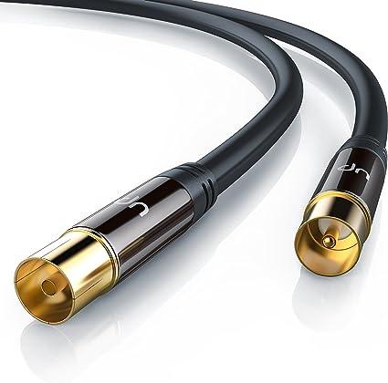 CSL - 15m Cable de Antena HQ HDTV Premium Factor de blindaje 135 dB Resistencia 75 ohmios - Cable coaxial Coax HDTV Full HD - Clavija coaxial Macho en ...