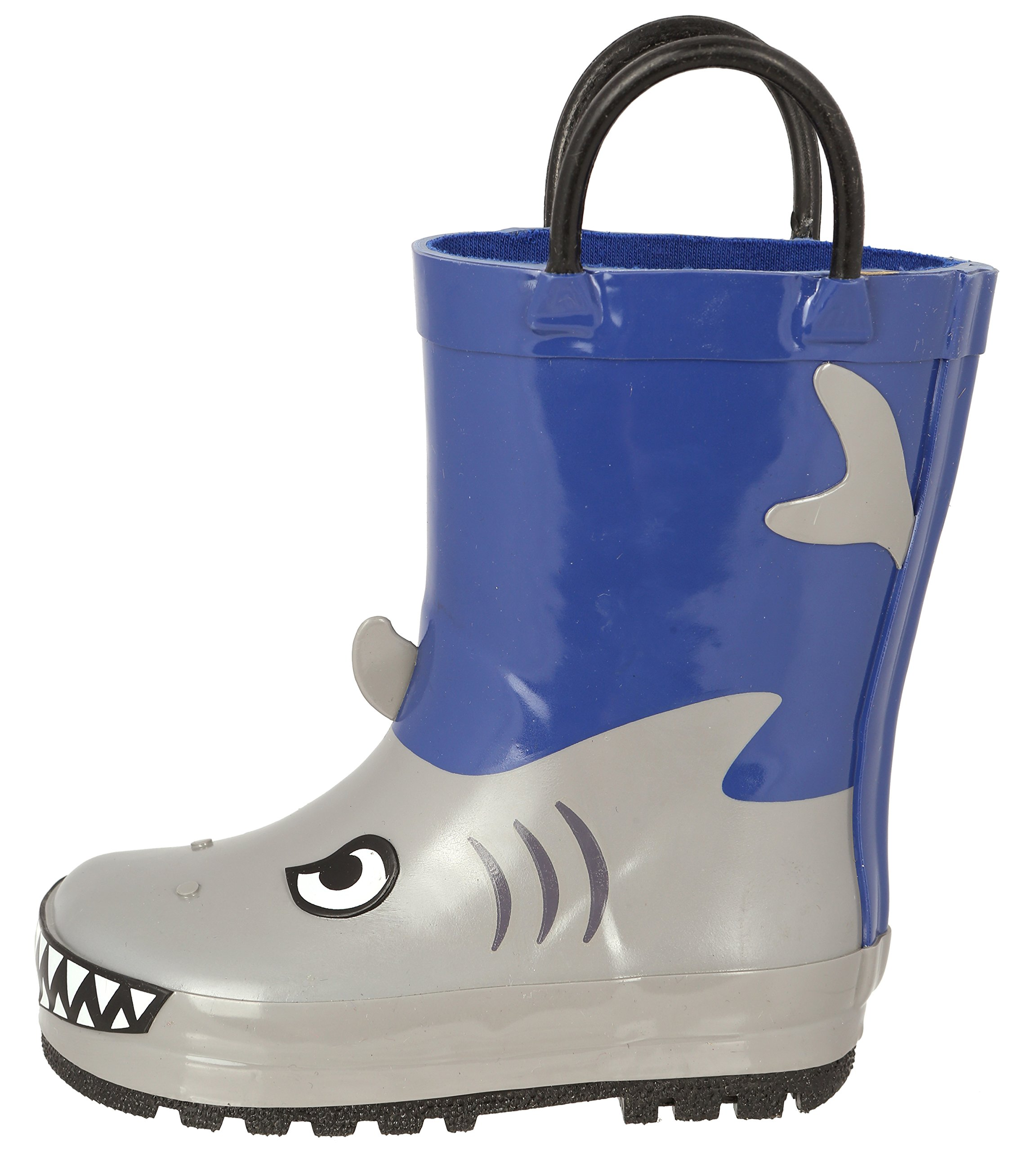 Image of the Capelli New York Toddler Boys Shiny Shark Attack Printed Rubber Rain Boot With Handles Grey Combo 7
