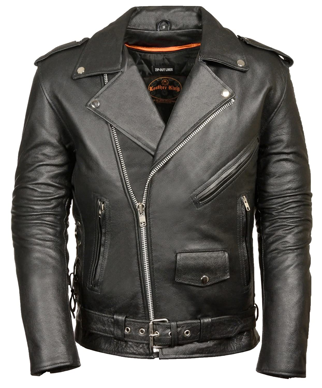 Mens jacket half - Classic Biker Jacket Half Belt Side Laces At Amazon Men S Clothing Store