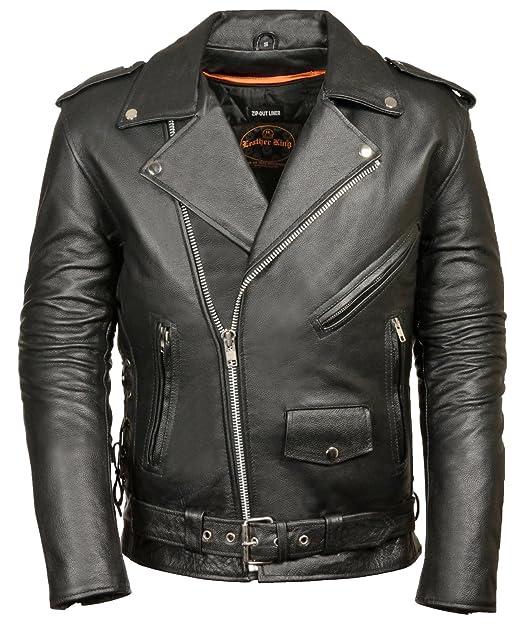 Big Mens Classic Biker Jacket Half Belt & Side Laces at ...