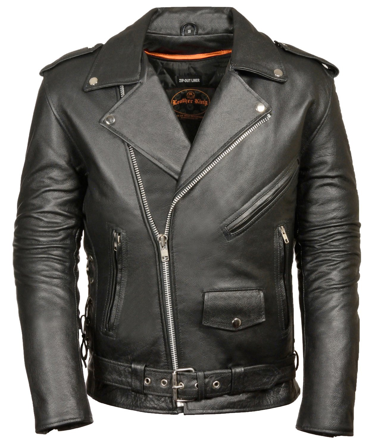 CLASSIC BIKER JACKET HALF BELT & SIDE LACES (Large)