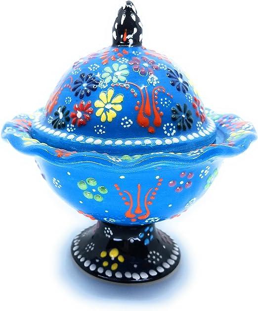 Xmas Gift Blue - Handmade Turkish Pottery Hand Painted Ceramic Dipping Set