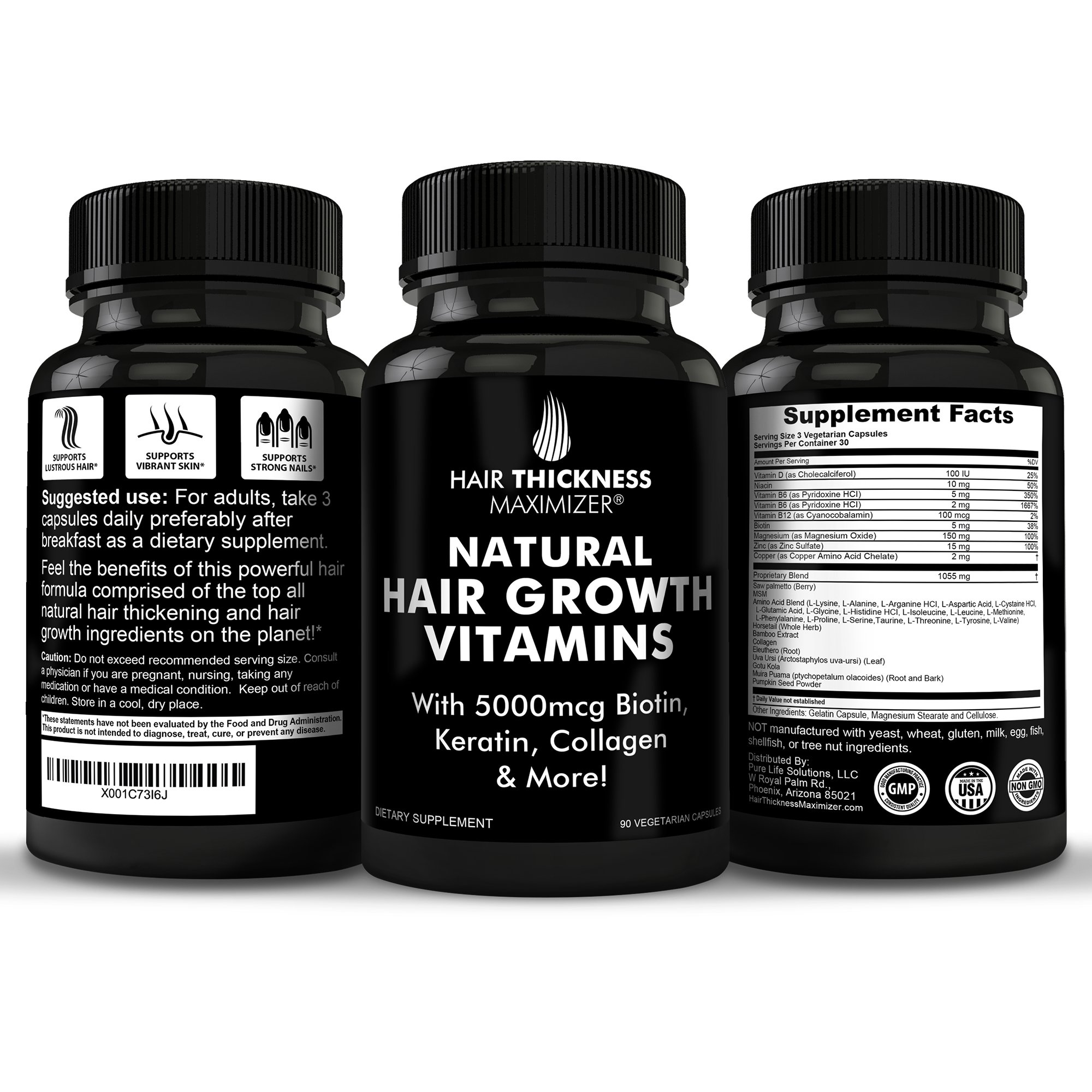 BEST Hair Growth Vitamins GUARANTEED. Stop Hair Loss NOW by Hair Thickness Maximizer. Natural Hair Growth Vitamins for Stronger, Thicker Hair. MADE IN USA. SAFE Vegetarian | With Biotin, Horsetail Ext by Hair Thickness Maximizer (Image #2)