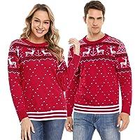 Aibrou Suéter de Navidad Familia Pullover de Punto Jerséis para Mujer Hombre Invierno Manga Larga Jersey Navideño para…