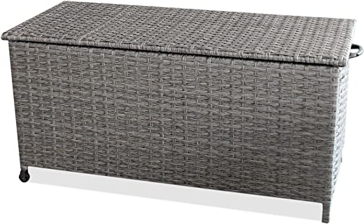 WOHAGA® Box Jardín Jardín baúl Caja de almacenaje Caja Cojín de arcón baúl – Roll Bar, Gas, 134 x 56 x h65 cm, ratán, Gris: Amazon.es: Jardín