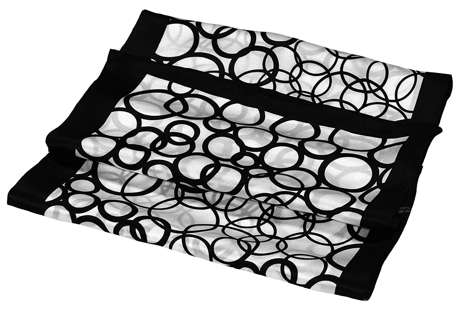 Black White Circle Abstract Printed Double Layer Long Pure Silk Scarf Bees Knees Fashion M486