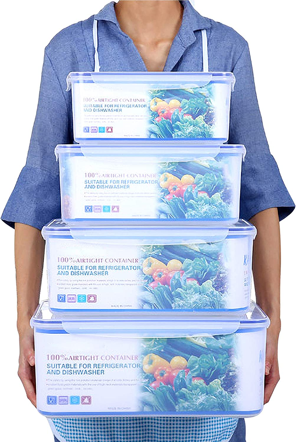 Large Size Food Storage Containers Set with Lids, 20 Quart, Set of 4 Plastic Freezer Containers for Food with Leak Proof and Airtight Lids, BPA Free and Stackable Kitchen Food Prep Containers