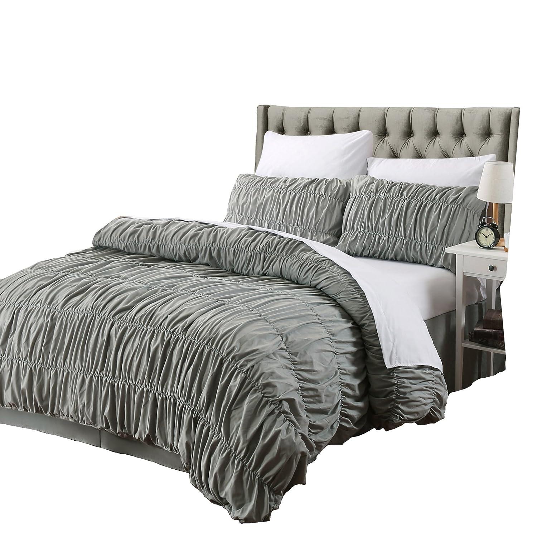 3 Pcsフリル布団カバーセットグレーシャビーシックRuched寝室インテリア。。。 King Size グレー DCG001K B07B7HGWR8King Size
