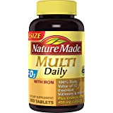 Nature Made Multi Daily Tablets w. Iron - 100% Daily Value of 12 Vitamins & Minerals + Calcium 450 mg 300 Ct