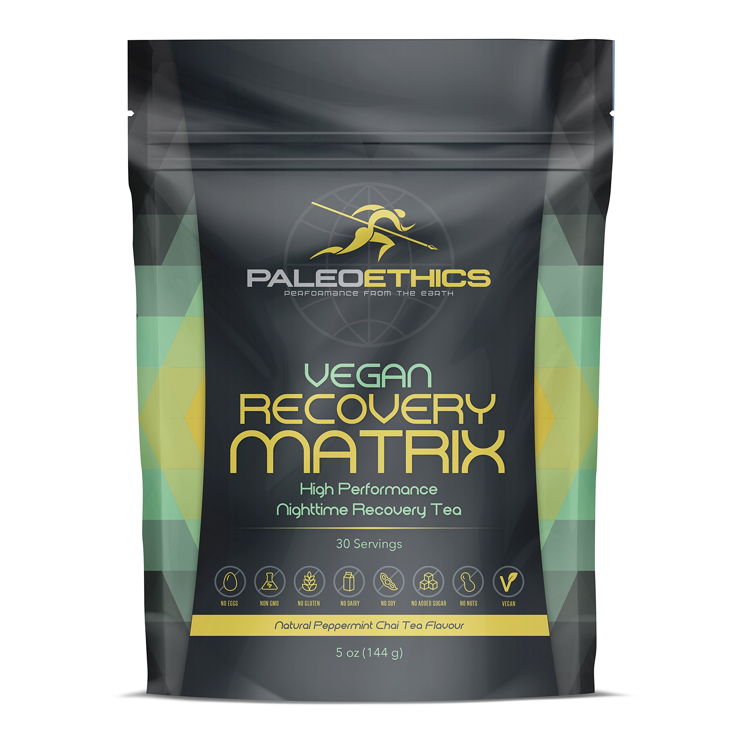 PALEOETHICS Vegan High Performance Recovery Tea Powder, Natural Peppermint Chai Flavor, 5 oz, 144 Gram