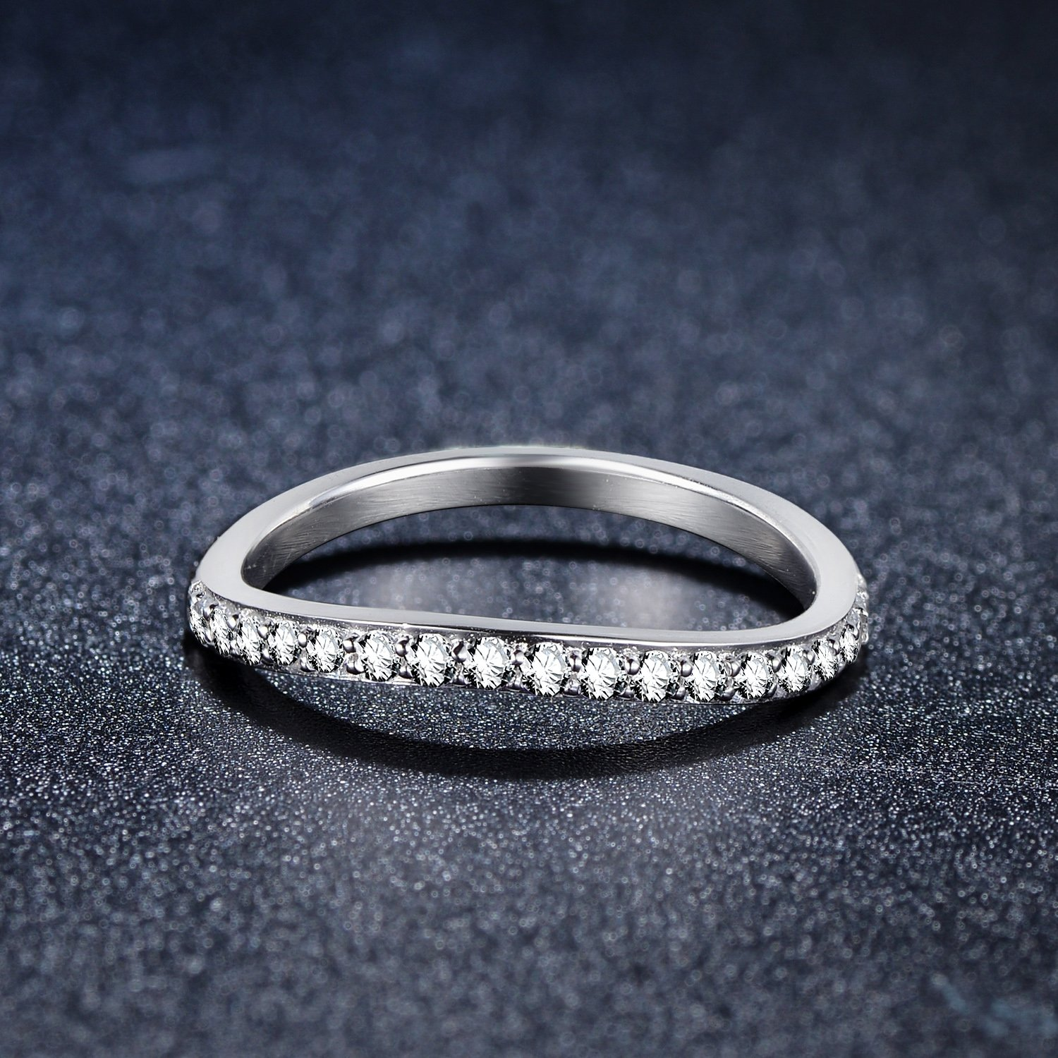 EAMTI CZ Wedding Band for Women 925 Sterling Silver Marquise /& Round Milgrain Half Eternity Stackable Ring Size 4-11