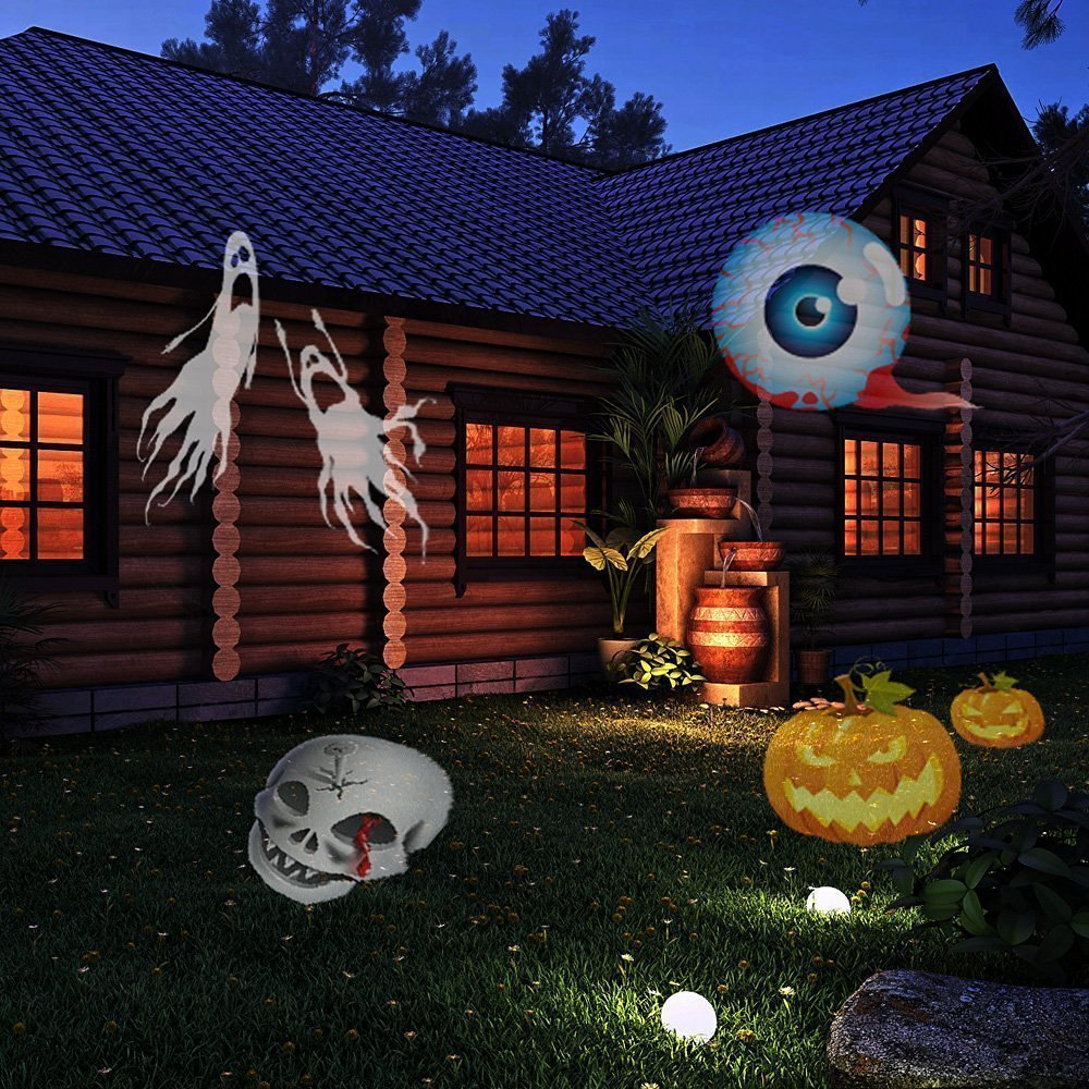 amazoncom signstek 4 led 12 replaceable pattern detachable motion projector light for halloween birthday christmas decoration party wedding patio - Laser Projector Christmas Lights