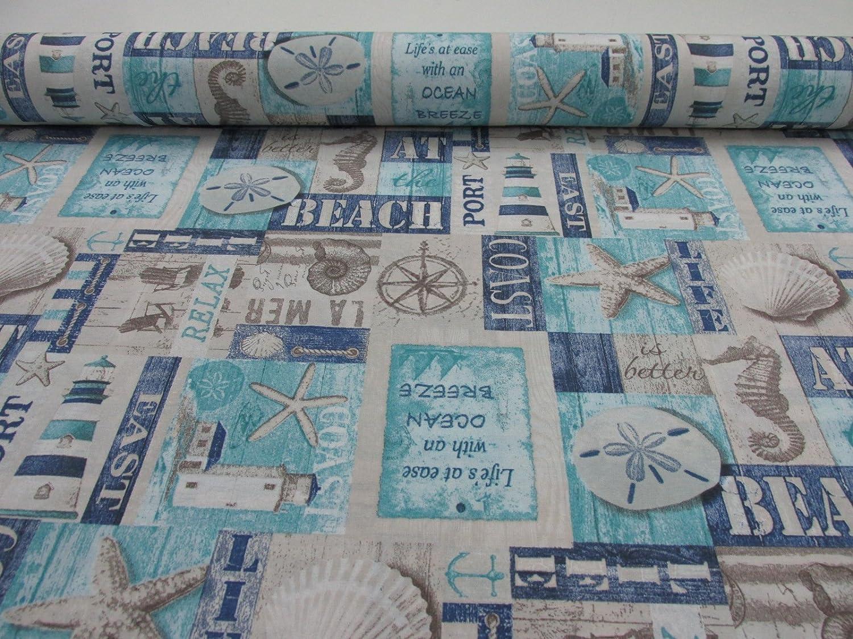 Metraje 0,50 mts tejido loneta estampada Ref con ancho 2,80 mts. Playa Carmen