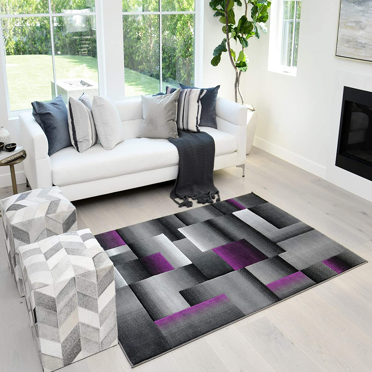 Amazon Com Handcraft Rugs Purple And Gray Abstract Geometric Modern Squares Pattern Area Rug 5 Ft By 7 Ft Kitchen Dining