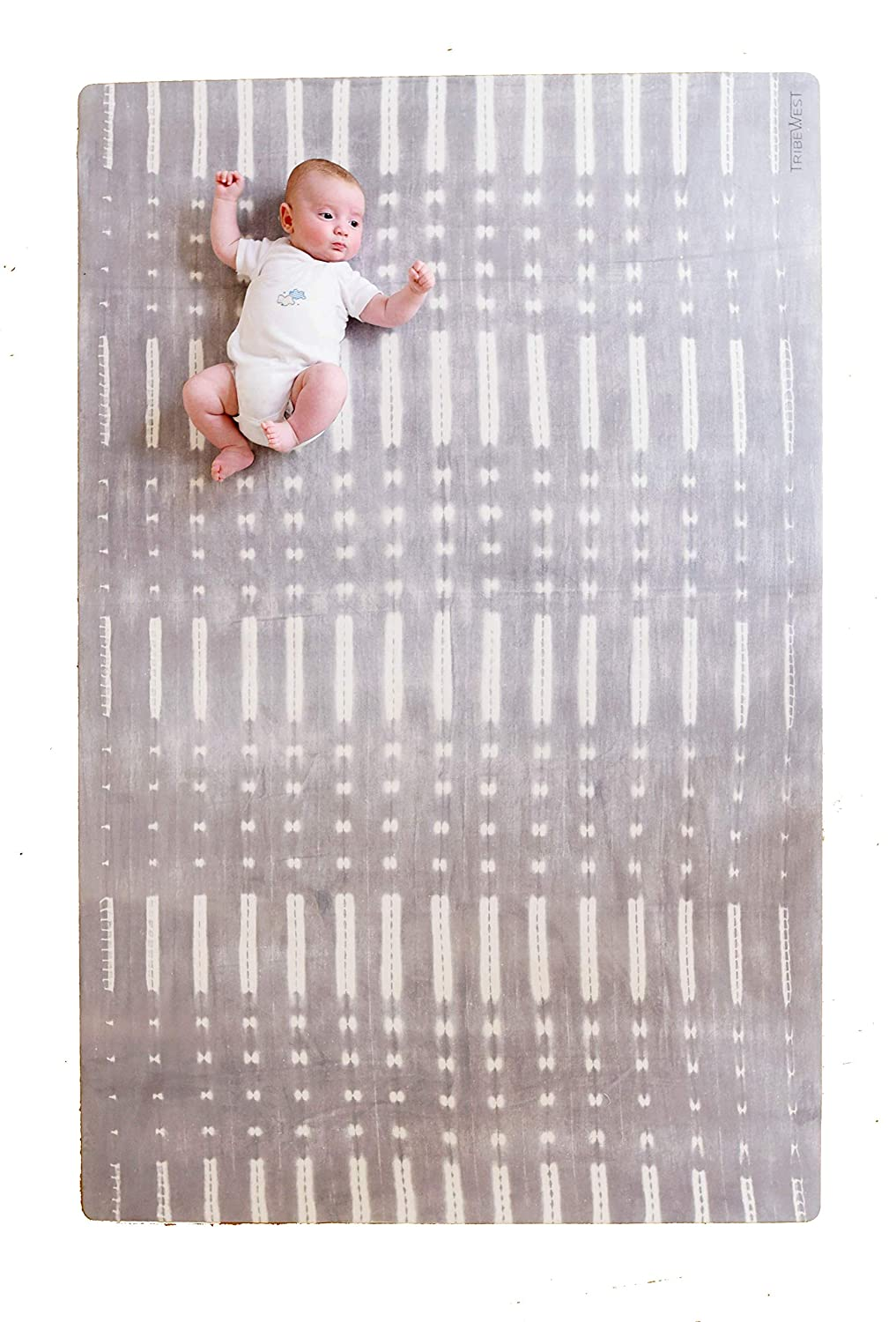 Tribe West Large, Stylish Playmat | Microfiber Suede and Durable, Natural Rubber (Mali Grey)