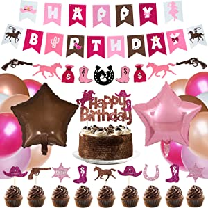 TREWAVE Cowgirl Themed Party Supplies Pack for Girls Western Cowgirl Backdrop Birthday Decorations Pink Brown Colored Décor for Kids Banners Balloons, Latex Balloons, Cake Toppers, Cupcake Picks