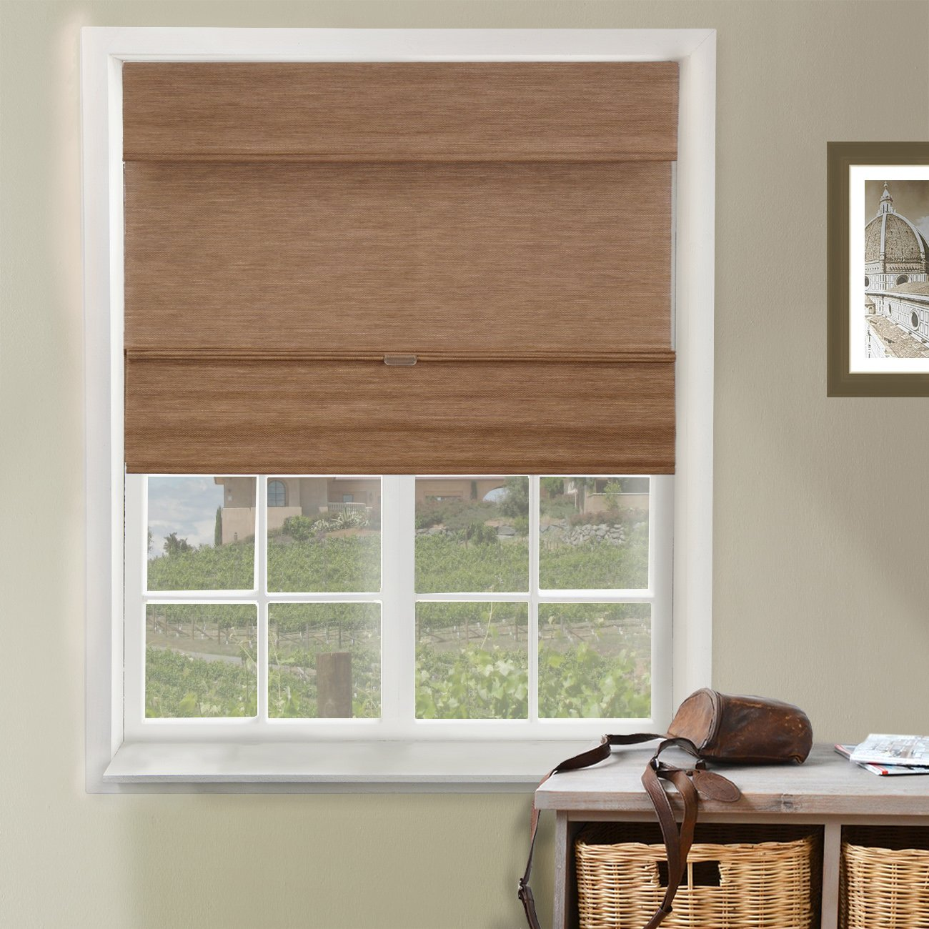 Chicology Cordless Magnetic Roman Shades Privacy Fabric Window Blind, 35''W X 64''H, Jamaican Truffle (Privacy & Natural Woven) by CHICOLOGY