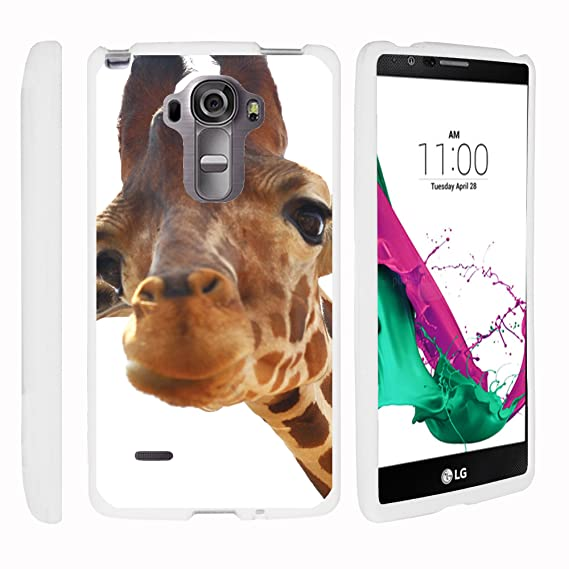 best loved 79828 87ef9 MINITURTLE Case Compatible w/LG G Vista 2 H740 White Phone Case, Snap on  Hard Cell Phone Cover Animal Artwork Cute Giraffe Closeup