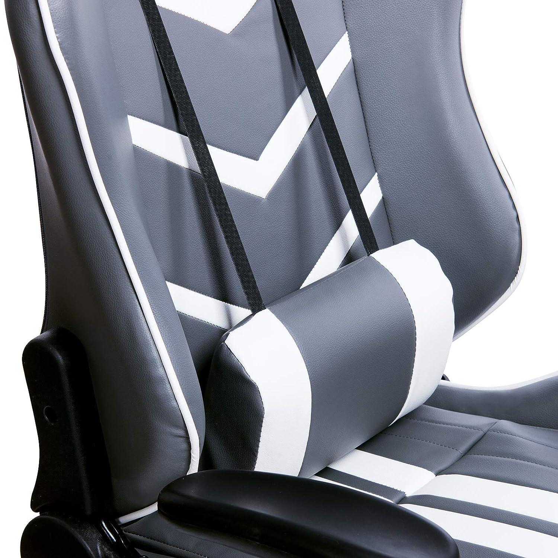 WOLTU Sedia Gaming Gioco Computer Sedie da Ufficio Girevole Poltrona Ergonomica con Cuscini Schienale Reclinabile Ecopelle Grigio+Bianco