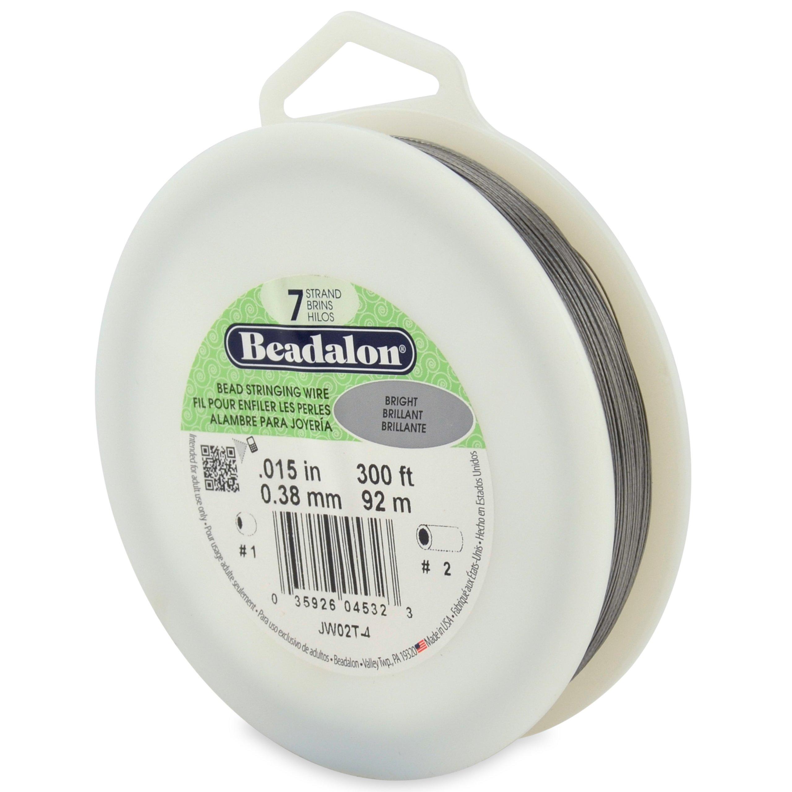 Beadalon 7-Strand 0.015'' (0.38 mm) 300 ft (91.4 m) Bright Bead Stringing Wire, by Beadalon