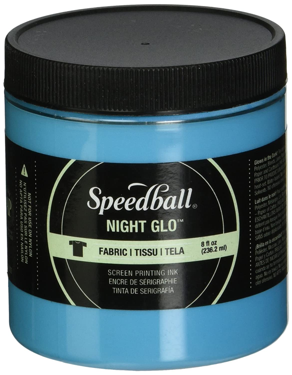 Speedball Art Products NGFSPI8-47522 Night Glow Fabric Screen Printing Ink, 8 oz, Green