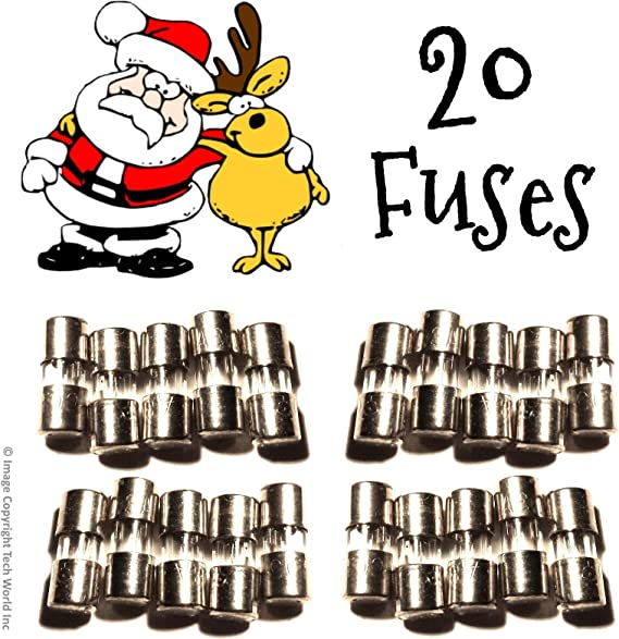 GE 5 AMPS 125 VOLTS replacement fuses for C7 C9 string lights 10mm x 3.5mm NEW