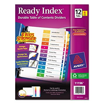 Amazon Avery Ready Index Table Of Contents Dividers 12 Tab