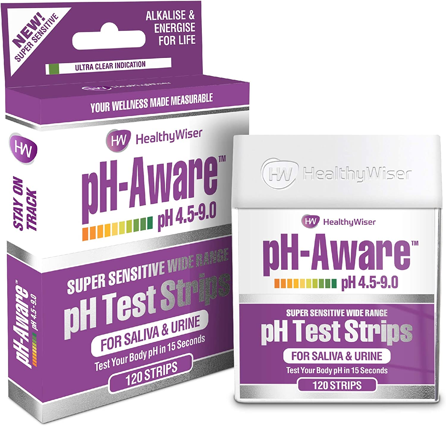 pH Test Strips 120ct - Tests Body pH Levels for Alkaline & Acid Levels Using Saliva & Urine. Track & Monitor Your pH Balance & A Healthy Diet, Get Accurate Results in s. pH Scale 4.5-9: Health & Personal Care