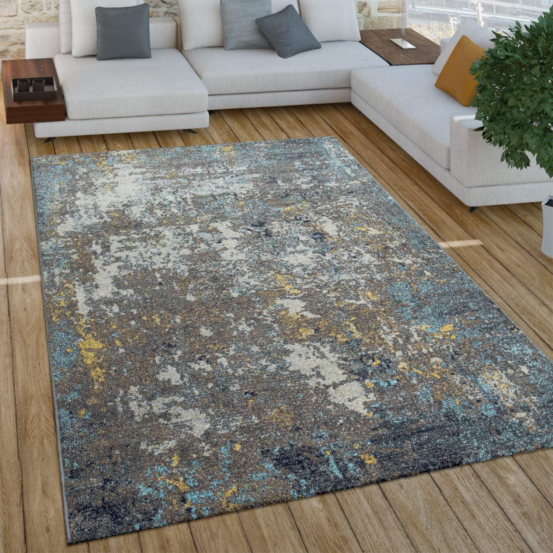 Paco Home Tapis Salon Vintage Poils Ras Marocain Diamant Turquoise Brun Dimension:60x100 cm Couleur:Beige