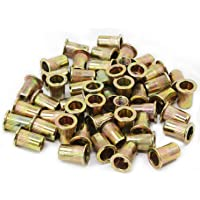 Aussel M8 50PCS verzinkt koolstofstaal klinknagel moer platte kop schroefdraad klinknagel Nutsert Cap (NUT4-M8-50PCS)