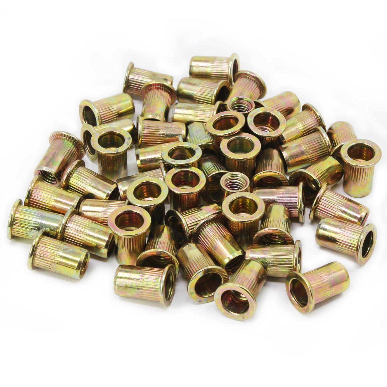 Aussel 165PCS M3 M4 M5 M6 M8 Zinc Plated Carbon Steel Rivet Nut Flat Head Threaded Rivet Insert Nutsert Cap Assortment (NUT1-165PCS)