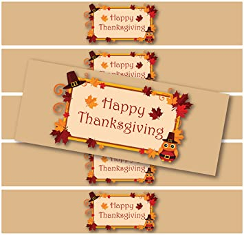 24 waterproof holiday bottle labels halloween thanksgiving christmas happy thanksgiving hat - Halloween Thanksgiving Christmas