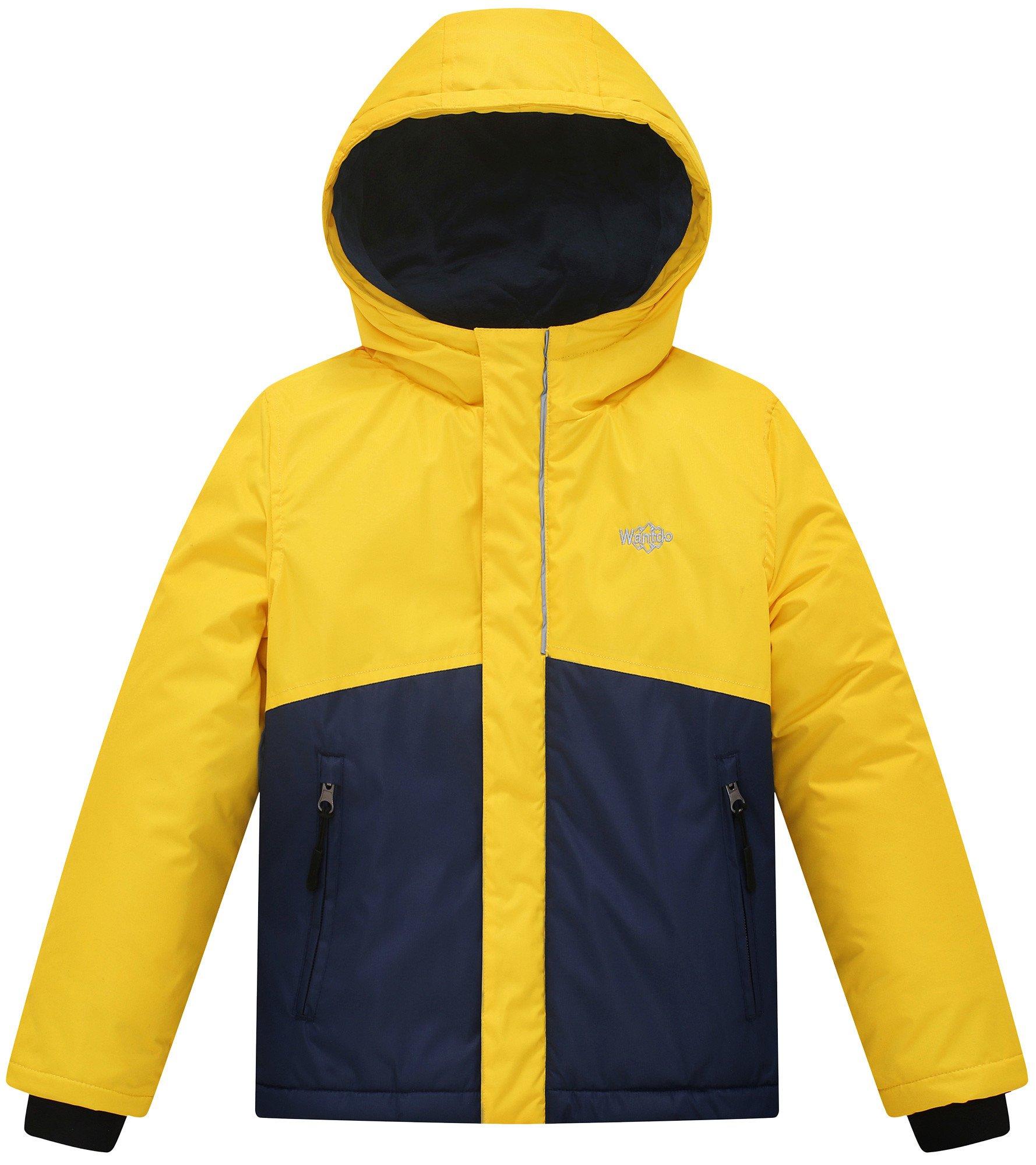 Wantdo Boy's Waterproof Quilted Ski Jacket Cotton Padded Coat Hooded Rainwear(Yellow+Dark Blue, 6/7)