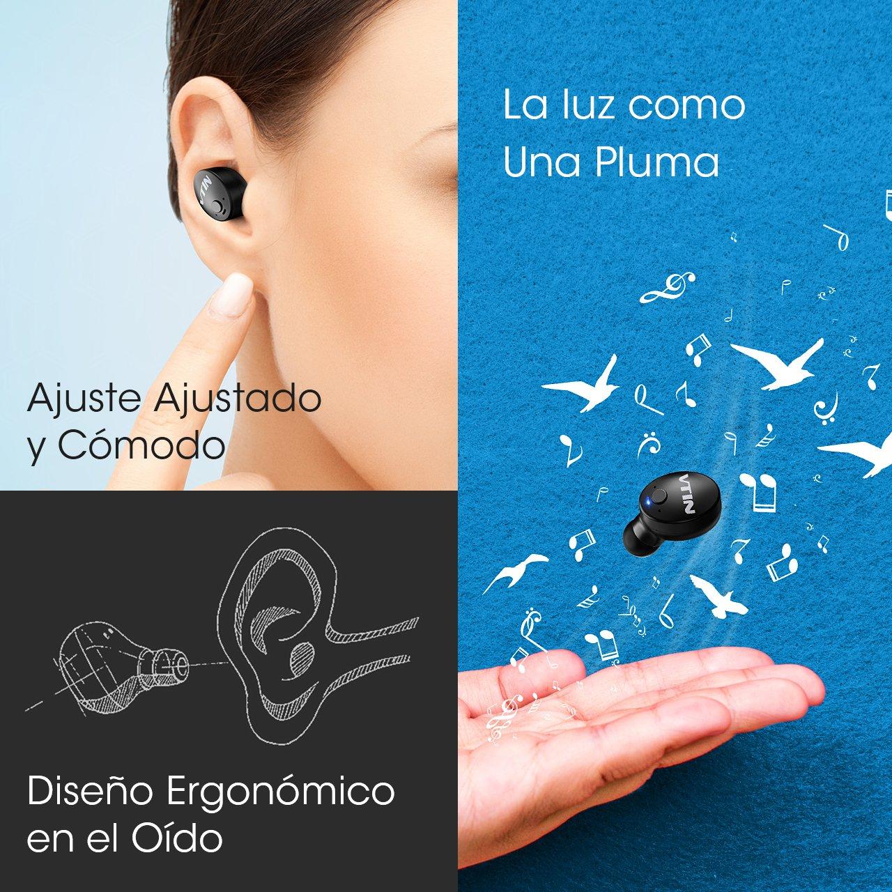 VTIN Auricular Invisible Bluetooth, VicTsing Mini Auricular Inalámbrico In Ear con Micrófono, Dos USB Cargardores y UNA Caja Portátil. para Hacer Llamadas ...