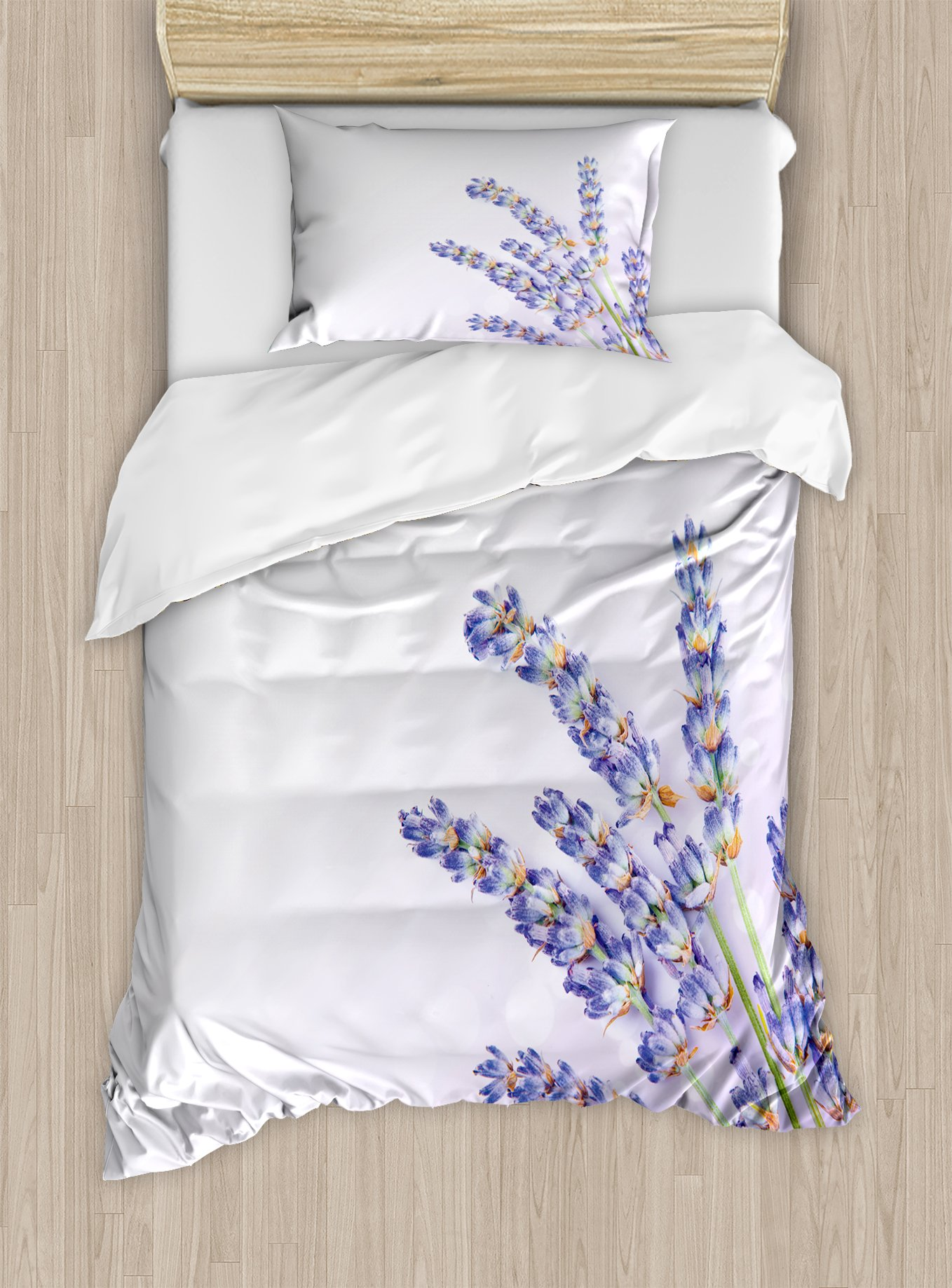 Ambesonne Lavender Duvet Cover Set Twin Size, Little Posy of Medicinal Herb Fresh Plant of Purple Flower Spa Aromatheraphy Organic, Decorative 2 Piece Bedding Set with 1 Pillow Sham, Lavander