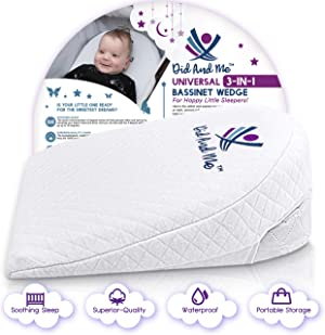 Bassinet Wedge Pillow for Baby - Universal - 3 Elevation Options for Better Sleep Aids in Relieving Reflux Nasal Congestion Feeding - Happy Baby and Happy Parents - Cotton Fabric w/Carry Case