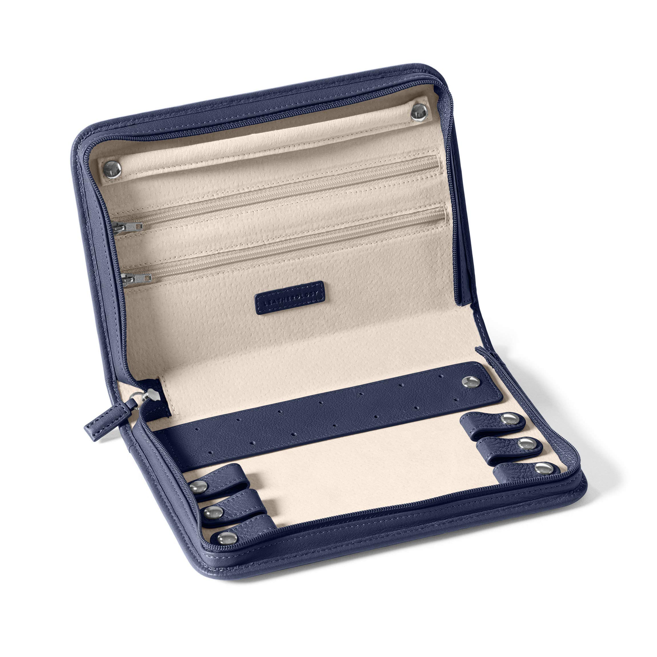 Large Jewelry Case - Full Grain Leather - Navy (blue)