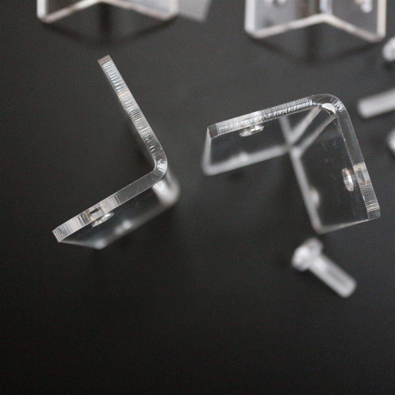 "2 x Corner Shelves 9/"" Wide 5mm Black Gloss Perspex Acrylic With Chrome Brackets"