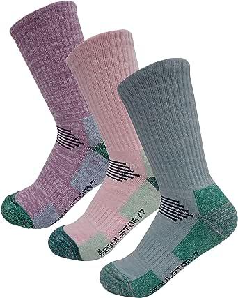 SEOULSTORY7 Women's Multi Performance Cotton Cushion Hiking/Outdoor Crew Socks Year Round
